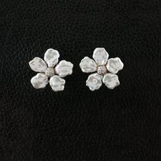 Pearl & Diamond Flower Earrings