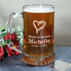 LOVE the heart icon on this beer mug. personalized for any lady in your wedding party.