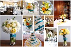 Peacock, Yellow and Ivory Flowers at The Royal Fox. Love the yellow and blue together- great for baby shower