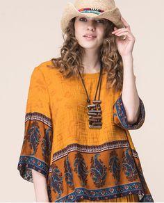 6b532cbf63a US $71.61  Aliexpress.com : Buy Jiqiuguer Women Boho Cotton Linen Tops Tees  Vintage Plus Size O neck Floral Print Patchwork Casual Summer Blouse Shirts  ...