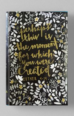 Golden Hand lettering. Esther 4:14. Custom Hand-Painted Bible from Hosanna Bibles. Personalized Bibles make great gifts!
