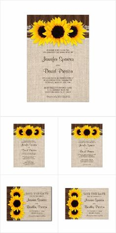 Rustic Country Sunflowers Wedding Invitation Set