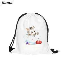 Hot Sale Women Bags Cat lovely Backpacks 3D Printing Bags Drawstring School backpack for girls Mochila Feminina Ja13
