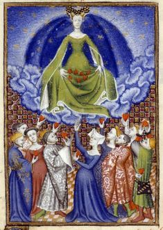 "Venus presiding over men and women presenting their hearts to her. Christine de Pizan, 'L'Épître Othéa', in BL Harley MS 4431 fol. 100r: ""The Book of the Queen,"" c. 1410-14 (France - Paris), made for Isabeau of Bavaria, Queen of France. Probably presented to her as a New Year's gift, Jan 1414. Later owned by John, Duke of Bedford; his wife, Jacquetta of Luxembourg; her son by her 2nd husband, Anthony Woodville, 2nd Earl Rivers; Louis de Gruthuyse; Henry Cavendish, 2nd duke of Newcastle."