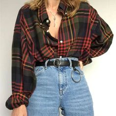 Retro Outfits, Mode Outfits, Cute Casual Outfits, Fall Outfits, Flannel Outfits, Flannel Shirt Outfit, Grunge Outfits, 80s Style Outfits, Collared Shirt Outfits