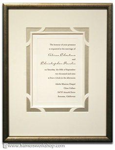 Beautiful cut mat detailing on this custom framed wedding invitation!  Custom framed wedding invitations make a beautiful gift.