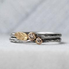 Natural Brown Diamond Leaf Ring Set  18k Gold by LilianGinebra