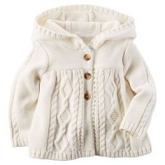 "Babies ""R"" Us - Carter's Hooded Chunky Cable-Knit Cardigan"