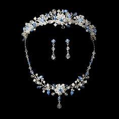 Bridal Jewelry Blue Crystal Wedding Tiara and Jewelry Set in silver plating. - Blue Crystal Wedding Tiara and Jewelry Set in silver plating. Bridesmaid Jewelry Sets, Bridal Jewelry Sets, Bridal Necklace, Bridal Accessories, Wedding Jewelry, Onyx Necklace, Bridal Jewellery, Best Jewelry Stores, Fantasy Jewelry