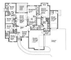 Home Plans HOMEPW76884 - 2,642 Square Feet, 4 Bedroom 3 Bathroom European Home with 3 Garage Bays