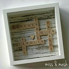 Personalised Scrabble Family Name Frame - Wall Art Birthday Gift Present Scrabble Wand, Scrabble Letter Crafts, Scrabble Wall Art, Scrabble Letters, Scrabble Tiles, Art Birthday, Happy Birthday, Scrabble Family Names, Scrabble Kunst