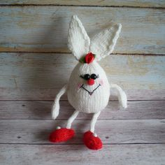 Toy Bunny White Knitted Amigurumi Decorative Gift Kids Toys