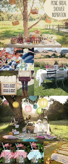 Picnic Bridal Shower-I like the baskets for serving food, and the gingham covered ball jars with straws for drinks.