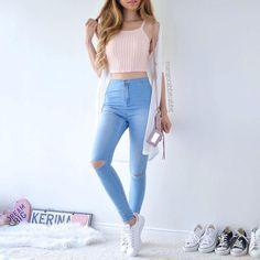 ideas dress blue light jeans for 2019 Teenage Outfits, Teen Fashion Outfits, Girly Outfits, Outfits For Teens, Pretty Outfits, Light Blue Jeans Outfit, Blue Jean Outfits, Blue Dress Casual, Casual Pants