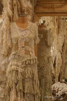 old lace dresses, Ireland...I was there!!!  Now to visit her shop in London!