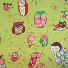 Alexander Henry House Designer - Spotted Owl - Spotted Owl in Green Tea