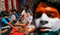 Fans attend a special prayer ceremony for the victory of the Indian cricket team as they hold a cut-out of Indian cricketer Sachin Tendulkar in the southern Indian city of Hyderabad March 30, 2011. (Reuters/Krishnendu Halder)