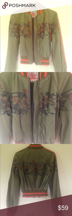 Free People Army Green Floral Bomber Jacket 100% cotton. Cute floral bomber jacket. Excellent condition. Rare! Offers welcome! Free People Jackets & Coats