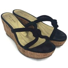 c58e44c9618e Kate Spade Women s Black Leather Straw Wedge Platform Thong Sandals Size 8  M  KateSpade
