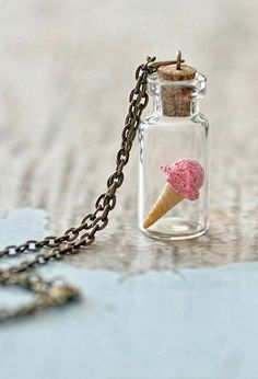 Strawberry IceCream Necklace. Miniature Food