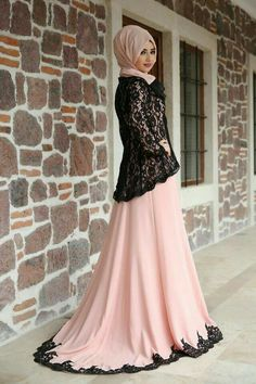 Pink black colors hijab evening dress model pictures and new season te … – Tesettür Indian Fashion Dresses, Abaya Fashion, Fashion Outfits, Islamic Fashion, Muslim Fashion, Hijab Evening Dress, Evening Dresses, Muslim Dress, Party Wear Dresses