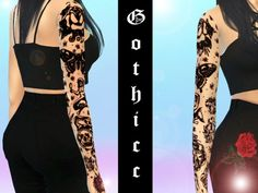 Traditional blackwork sleeve, featuring Sailor Jerry designs.  Found in TSR Category 'Sims 4 Female Tattoos'