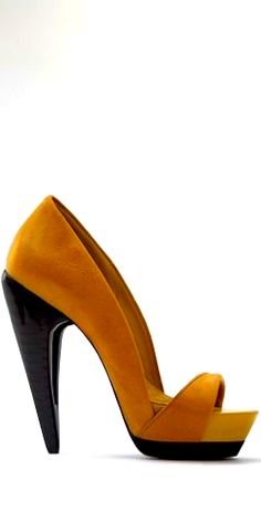b97aa31fa75e Fabulous curry open toe with black laquered heel~~Zuzana Serbak~~