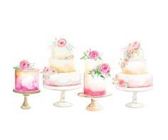 watercolor cake illustration, design logo, watercolour cake