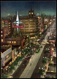Tokyo Night View of Ginza Crossing Post War 絵葉書東京銀座交叉夜景戦後