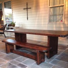 These tables are made of old reclaimed cypress 2x6 rafters. Solid steel is used to wrap the corners and is attached with sturdy lag bolts. The trestle pins are old repurposed railroad spikes. Table pictured is 90x36  *ask about custom sizes  *bench not included in this price