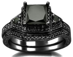 This is the one I want!!! 2.06ct Black Princess Cut Diamond Engagement Ring Wedding Bridal Set 14k Black Gold / Front Jewelers