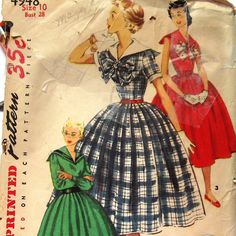 Vintage 50s Womens Dress Pattern With Sailor by kalliedesigns, $7.99