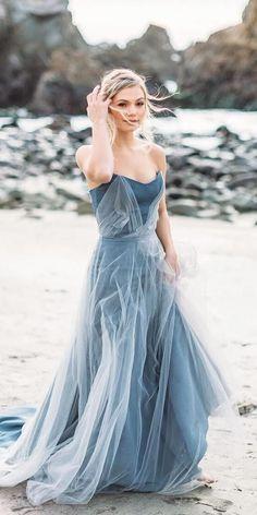 21 adorable blue wedding dresses for romantic celebration