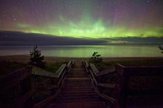 A brilliant aurora triumphs over the fog on Lake Superior near Marquette, Michigan, on September 26.