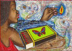 Papa Mfumu'Eto 1er - Série miniatures - Les papillons du Congo, 2014, acrylique sur toile, 24 x 35 cm