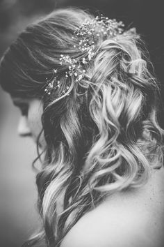 Wedding hair options love the babies breath