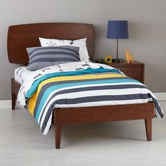 The Land of Nod | Kids Beds: Walnut Retro Ellipse Bed in Beds