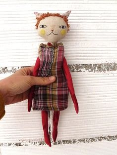 Cat doll in cotton and linen canvas with curly by AntonAntonThings