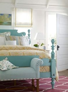 Bed color is awesome. Looks like it could be ASCP Provence?…I'd tire of it quickly but I love it