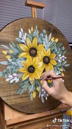 Canvas Painting Tutorials, Diy Canvas Art, Diy Painting, Acrylic Painting Flowers, Painted Flowers, Art Painting Gallery, Sunflower Drawing, Sunflower Art, Sunflower Canvas Paintings