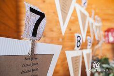 Wedding details.  Reception. Place holders.