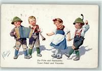 BKW Serie 194-2 , Kinder tanzen, Ziehharmonika, AK