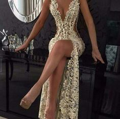 Long all lace dress