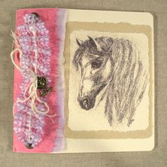 Hand drawn horse. Blank Birthday Card for Her. Pink handmade paper, purple lace. Rose metal charm, recycled card, ink & wash drawing. OOAK.
