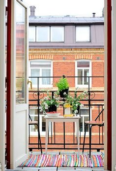 French doors and a tiny balcony leading off my bedroom. Just big enough for a coffee and croissant in the morning.