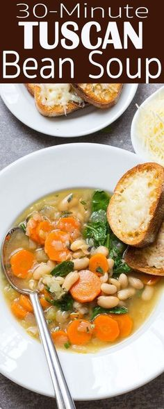 30-minute Tuscan bean soup. White beans, kale or spinach, carrots, onion, celery. Such a simple and satisfying weeknight dinner.