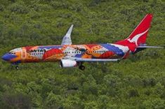 """Australian - Boeing (VH-XZJ) Quantas Airways Painted by Aboriginal and non-Aboriginal Artists – Painted in Aboriginal """"Dreamtime"""" Livery Aboriginal Dreamtime, Aboriginal Artists, Airplane Painting, Airplane Decor, Airplane Design, Aircraft Painting, Air New Zealand, Commercial Aircraft, Nose Art"""