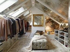 Love this attic/closet - in my dream home, the stairs that leads to this awesome space is inside my bedroom. House Design, House, Home, Attic Renovation, Home Remodeling, Dream Closets, House Styles, New Homes, Interior Design