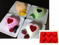 Polymerose 6 Cavity Silicone HEARTS Mold Pan for Cupcakes, Muffins, Desserts, Jello. by Polymerose. $6.50. Better results: Bakes evenly and completely: No burnt bottoms or edges. It will stop baking when removed from the oven, preventing overcooking.. Easy to clean. Dishwasher safe. Easy to store: Due to its flexibility, it helps you save storage space.. Highest quality silicone: Nonstick material that won't fade, flake or wear off.. Measurements of the hearts silicone mold in i...