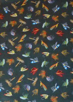 BonEful FABRIC FQ Cotton Quilt Black Brown Bird Feather Log Cabin Fly Fish Men S